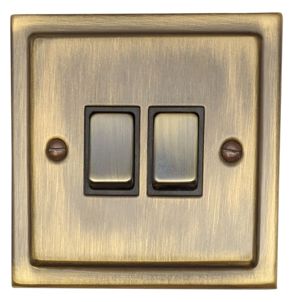 G&H TAB302 Trimline Plate Antique Bronze 2 Gang 1 or 2 Way Rocker Light Switch